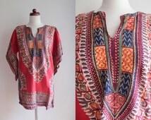 Vintage Kaftan Shirt - 1970's African Tribal Tye Dye Tunic - Size S