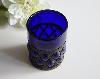 Vintage, Candle Holder, Rustic, Cobalt Blue Glass, Metal, Hand Blown, Metal Frame, Shabby Chic, Glass Candle Holder, Patio Candle Holder