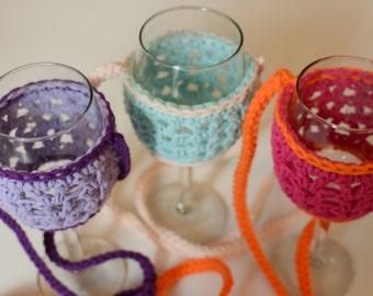 Wine Glass Necklace - Wine Glass Necklace Holder - Wine Glass Lanyard - Crochet - Bachelorette Party - Wedding Favor - Stocking Stuffer
