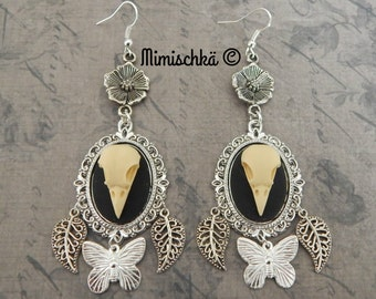 earrings skull bird gypsy