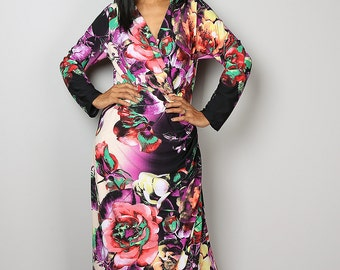 Floral Dress / Cross Front Evening Gown / Maxi Dress with Floral Print : Funky Elegant Collection No.8
