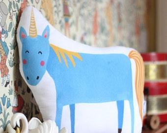 Unicorn Cushion Blue Unicorn Pillow Blue
