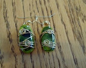Glass fusion green wire wrapped earrings