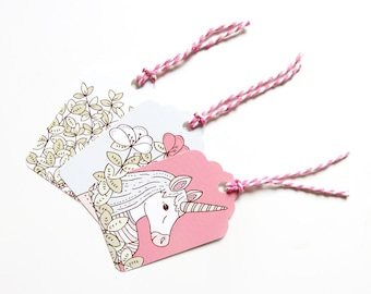 SALE Set of 12 Floral Unicorn Gift Tags