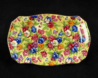"Vintage Royal Winton Grimwades Chintz ""Sweet Pea"" Tray with Gilt Trim"