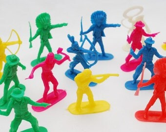 Vintage 1960's Lot of Plastic Cowboys and Indians - Neon Colors - Solid Molded Plastic Toy Figures - Hong Kong - Cake Toppers - Party Favors