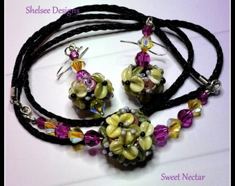 Yellow and Pink,Earrings and Necklace Set,Lampwork bead necklace,Bead Earrings, Floral Jewelry Set,Flower Beads - SWEET NECTAR -