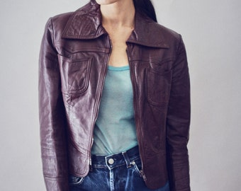 70s chocolate vintage leather jacket