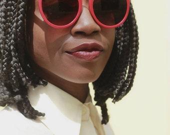 70s Red Style Emamel/ Metal Framed Sunglasses