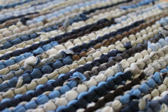 Table Runner Ocean Blues Tan White Cream Modern Country Farmhouse Cottage Chic Artisan Knitted Upcycled TShirts 12x36 --US Shipping Included