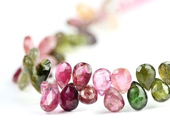 Valentines Sale Tourmaline Faceted Pear Briolettes 6 Large Pink Green Yellow Semi Precious Gemstones