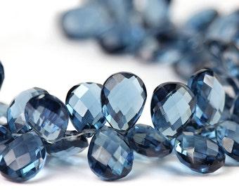 London Blue Quartz Faceted Pear 1 Briolette Steely Blue London Blue Semi Precious Gemstone