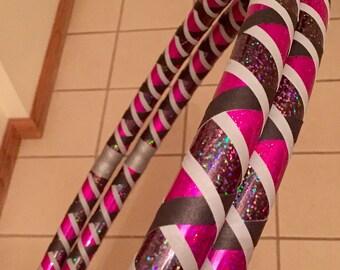 Collapsible Hula Hoop - Infinity Travel Hoop - Pink Glitter, Black Galaxy, Grey & Black Grip - 100 or 125 PSI PE - Beginner Intermediate