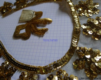 beaded vintage sequins/antique applique /1930/made in france
