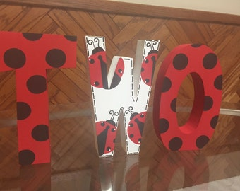 Ladybug - 2nd birthday - photo prop - free standing - hand painted - wooden - TWO