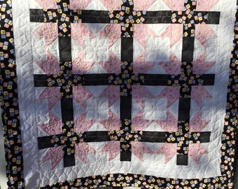 Pink, Black and White Baby Quilt
