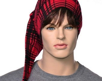 Cotton Nightcap Glasgow Plaid Red and Black Adult Men Women Night Cap Lightweight Hat to Sleep in Buffalo Plaid HatPoor Poet Hat Pompom