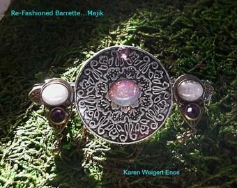 "Hair Barrette Upcycled Jewelry... ""Majik""...Spiritual....Wiccan...Magical...Goth..Medievil..OOAK"