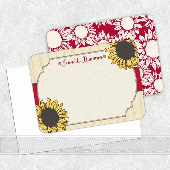 personalized notecards - set of 16 - notecard set, thank you cards, girlfriend gift, personalized stationery, sunflower notecard set, NS136
