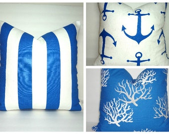 NEW Cobalt Blue Coral Pillow Cover Royal Blue Grey White Coral Stripe Anchor Nautical Pillow Covers All Sizes