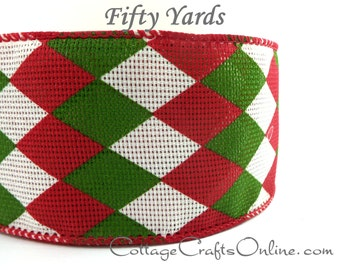 """Christmas Wired Ribbon, 2 1/2"""" wide, Red, Green, Ivory Mesh Argyle - FIFTY YARDS -  """"Holiday Harlequin""""  Craft Wire Edged Ribbon"""