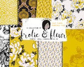 Floral Digital Paper Yellow Flowers  Planner Sticker Kit  leopard   300 dpi printable Project Life Custom Cards small cu ok