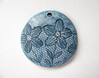 Denim Blue Flower Pendant Stoneware Clay