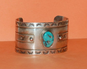 Native American Turquoise Silver Cuff Large Vintage Braclet