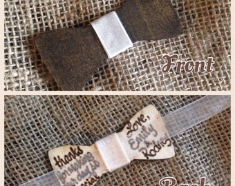 Custom Bow Tie for the Groom Groomsman Best Man Usher Ring Bearer Made from Wood with Wedding Couple's Names
