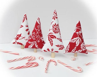 Christmas decoration stuffed Christmas tree red white trees mantle decor, room decoration set of 4 pcs stocking stuffer Christmas gift idea