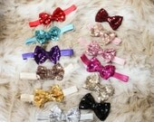 Baby Headbands, sequin Bow Headband, Head wraps, Girls Headband,Gold baby headband,Big Bow Headband,Sequin Bow Headband,