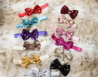 Baby Headbands, sequin Bow Headband, Head wraps, Girls Headband,Gold baby headband,Big Bow Headband,Sequin Bow Headband,