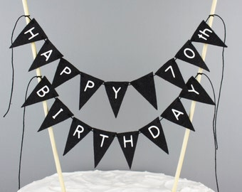 Happy 70th Birthday Cake Topper Banner, Black Birthday Cake Bunting, Custom Cake Banner, Age Cake Topper, Happy Birthday Sign