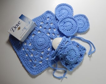 Cotton Drawstring Soap Saver, Face Pads & Washcloth - Blue Periwinkle - Crochet Spa Gift Set