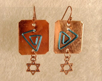 Star of David Earrings - Aqua Wire on Copper - Cu009