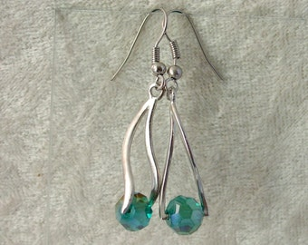 Crystal Earrings - Teal