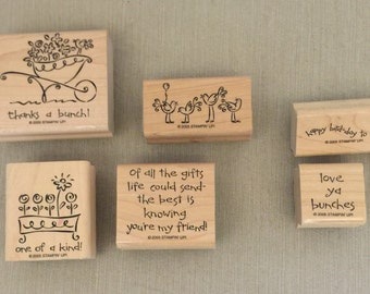"Stampin' Up Rubber Stamp Set of 6 ""Love Ya Bunches"" Scrapbooking, Card Making, Paper Crafts, Flowers, Happy Birthday, Friend, Thanks"