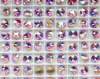 Swarovski 1088 Light Rose AB 29ss  Crystal Chatons Foiled - 6 Pieces