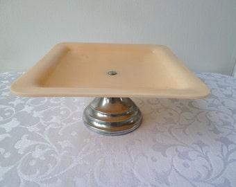 Vintage 1940's Art Deco Flesh Tone Celluloid Pedestal Cake Plate, Modernist, Minimal, Chic, Tea Time