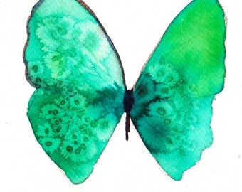 turquoise and bright spring green butterfly original watercolour painting
