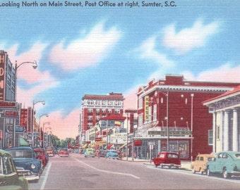Sumter, South Carolina, Main Street - Linen Postcard - Unused (O)