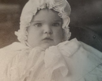 Antique Photo Victorian Bonnet Baby Santa Rosa 1890's
