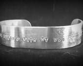 """Metal Stamped Cuff Bracelet, """"I Would Rather be Hiking with my Dog"""", Dog Lover Jewelry, Hiker Jewelry, Unisex Bracelet"""