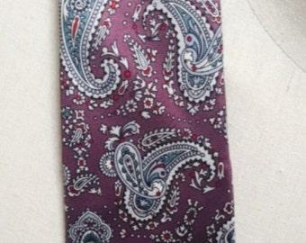 Vintage 1980s Christian Dior Silk Purple & Blue Men's Necktie