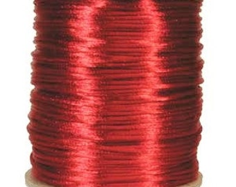 3mm Red Silk Cord, 3mm Cherry Red Rattail, Kumihimo Cord, 6 Yard, Red Satin Cord, Chinese Knotting Cord, 3mm Christmas Red Cord, Valentine