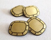 RESERVED for A Vincent: Edwardian Sterling Silver / Gold tone Double Panel Cufflinks