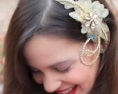 Bridal comb, gold bridal comb, bridal hair piece, bridal hair, bridal headpiece, something blue for bride, wedding comb- SAMPLE PIECE 01