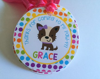 Puppy Dog Birthday Party Personalized Favor Tags, Thank You Tags, Treat Tags, Goody Bags,  Party Favors, Party Decorations, Set of 12