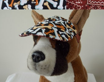 Dog visor, reversible (two fabrics), comfortable and colorful. V8   Can be personalized.