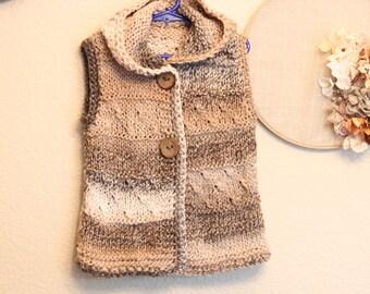 Knitted vest,little girl vest,gift ,  Vest with hood, 3T knitted vest